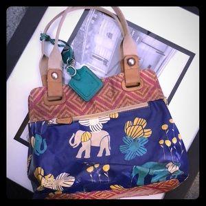 Fossil Key-Per Elephant, blue hobo bag